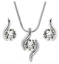 Troli sada náhrdelníka a náušníc Chaton Wave Crystal E108808WPURH + C108808WSNRH crystal