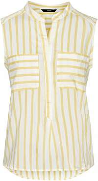 Vero Moda Dámska blúzka Erika S/L Stripe Shirt Color Snow White/Yarrow XS