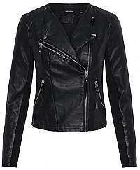 Vero Moda Dámska bunda VMRIA FAV SHORT FAUX LEATHER JACKET NOOS Black S