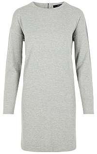 Vero Moda Dámske šaty VMHAPPY BASIC LS ZIPPER DRESS COLOR Light Grey Melange XS