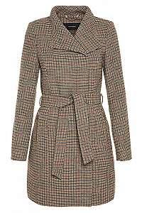 Vero Moda Dámsky kabát Two Dope Check 3/4 Wool Jacket Tobacco Brown Black With Winetasting M