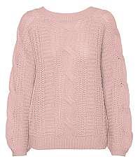 Vero Moda Dámsky sveter VMALLIE LS V-BACK CABLE Blouse BOO Sepia Rose S
