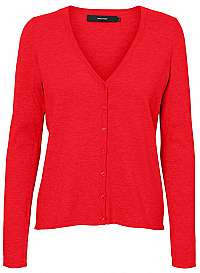 Vero Moda Dámsky sveter VMHAPPY BASIC LS V-NECK CARDIGAN COLOR Chinese Red M