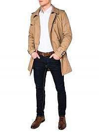 Atraktívny béžový pánsky kabát c346
