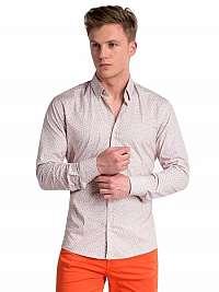 Béžovo-oranžová trendy vzorovaná košeľa k495