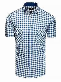 Bielo-blankytne modrá károvaná košeľa