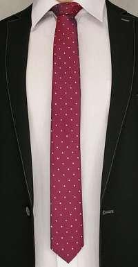 Bordová bodkovaná kravata