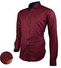 Bordová košeľa s kontrastnými prvkami