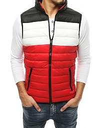 Červená vesta bez kapucne s čiernym kontrastom