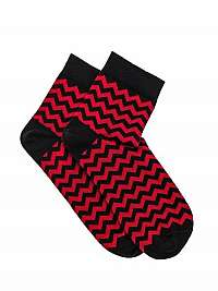 Červené členkové ponožky cik-cak U11