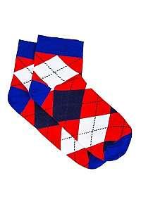 Červené kárované botaskové ponožky U16