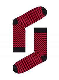 Červené pánske cik-cak ponožky