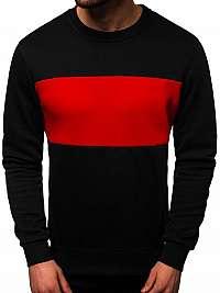 Čierno-červená jednoduchá mikina JS/2010