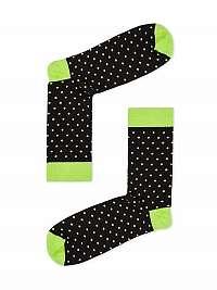 Čierno-zelené pánske bodkované ponožky U22
