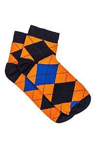 Členkové ponožky v károvanom dizajne oranžové U16