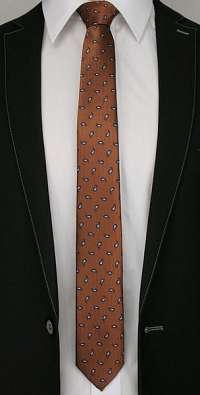Hnedá vzorovaná kravata