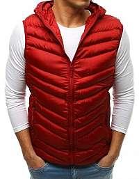 Jedinečná červená prešívaná vesta s kapucňou