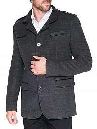 Jedinečný pánsky tmavo šedý kabát c92 augustin