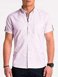 Jednoduchá pánska košeľa ružová k489