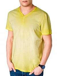 Jednoduché žlté pánske tričko s894