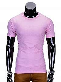 Jednofarebné pánske tričko ružové s970