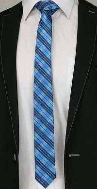 Károvaná modrá pánska kravata