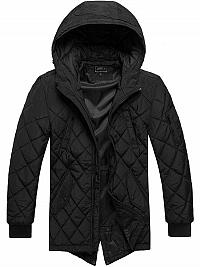 Klasická čierna bunda v predĺženom strihu J.STYLE09