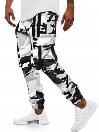 Maskáčové čierno-biele joggery O/11102