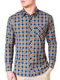 Moderná modro-žltá károvaná košeľa k418