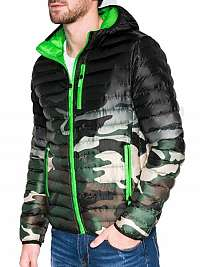 Moderná zelená bunda v maskáčovom prevedení c319