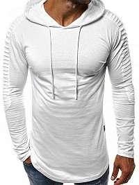 Moderné biele tričko s dlhým rukávom  MECH/2148T