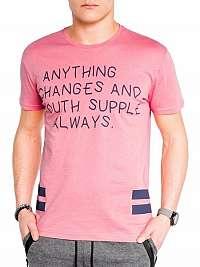 Moderné ružové tričko pre pánov s986