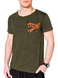 Módne pánske khaki tričko s1091