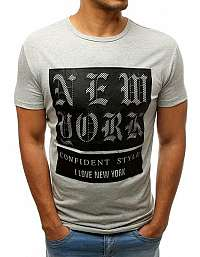 Módne šedé tričko NEW YORK