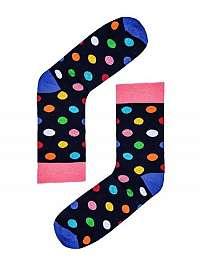 Modré ponožky s farebnými bodkami U45