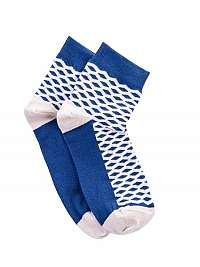 Modro-béžové ponožky so vzorom U08