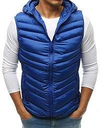Nebesky modrá prešívaná vesta s kapucňou