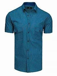 Nebesky modro-čierna károvaná košeľa