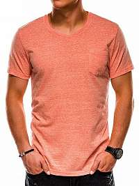 Oranžové módne tričko s vreckom s1045