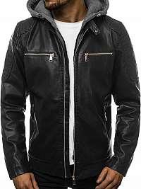 Pánska koženková bunda čierna JB/JP1106