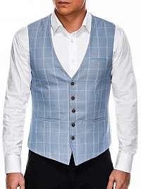 Pánska modrá elegantá vesta v50