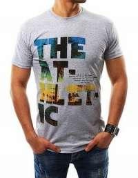 Pánske šedé tričko s farebnou potlačou