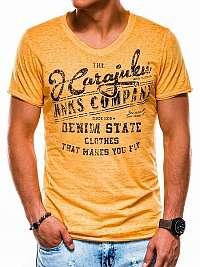Pánske žlté tričko s potlačou  s1137