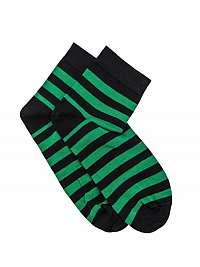 Pásikované členkové ponožky zelené U07