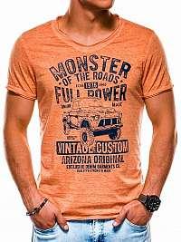 Perfektné oranžové tričko pre pánov s1144