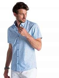 Pohodlná modro-biela košeľa s kvetinovým vzorom k474