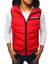 Prešívaná červená vesta s kapucňou