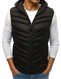 Prešívaná čierna vesta s kapucňou