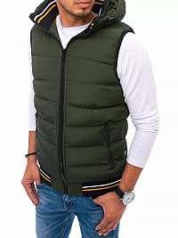Prešívaná zelená vesta s kapucňou