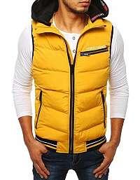 Prešívaná žltá vesta s kapucňou